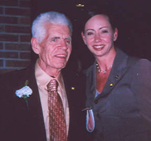 Crime Victim Specialist Erin Pierone with Don Miles, who spoke on behalf of the family of David Bacon, a homicide victim in Saratoga County from a murder that occurred in Waterford in 1969.
